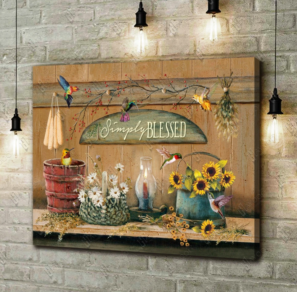 SIMPLY BLESSED FARMHOUSE AND HUMMINGBIRDS CANVAS WALL ART DECOR