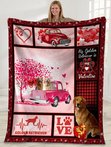 Dog Blanket Valentine's Day Gifts My Golden Retriever Is My Valentine Golden Retriever Dog Pink Truck Fleece Blanket