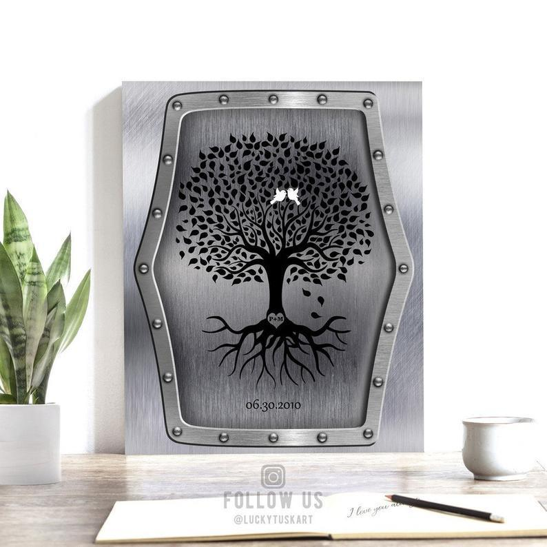 11 Year Anniversary Personalized Family Wedding Tree - Gift For Couple - Family Canvas