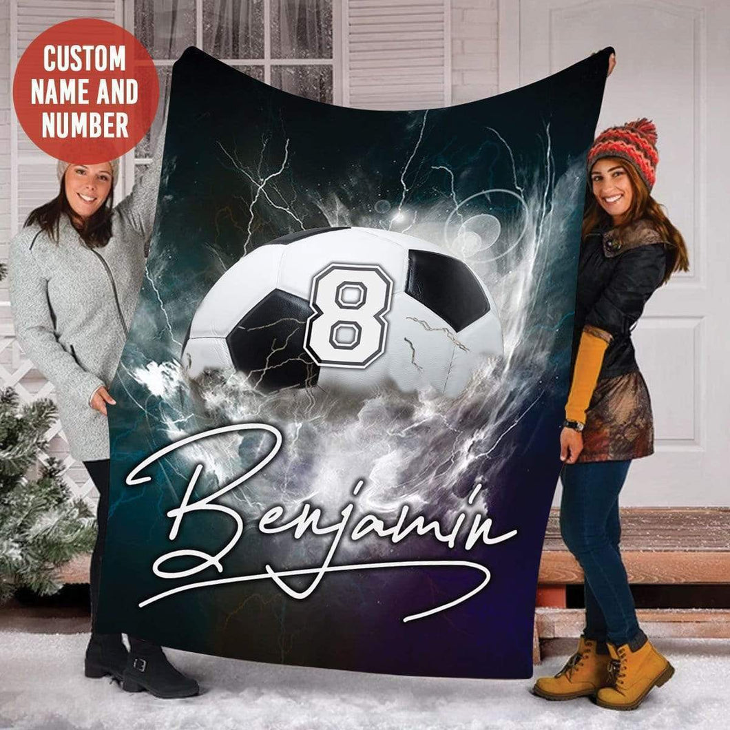 Custom Blanket Thunder Soccer Blanket