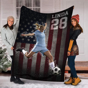Custom Blankets Soccer - American Flag With Your Photo