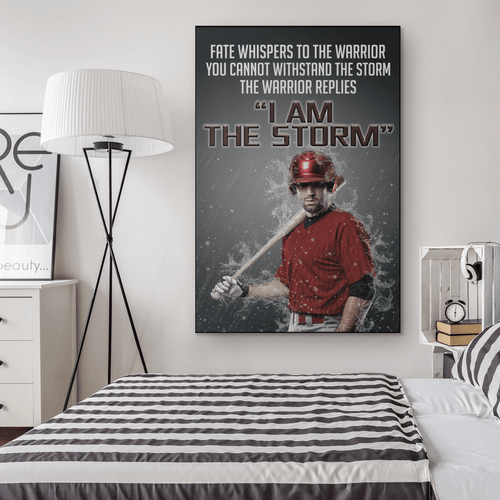 I am the storm- Baseball Custom canvas prints with photo