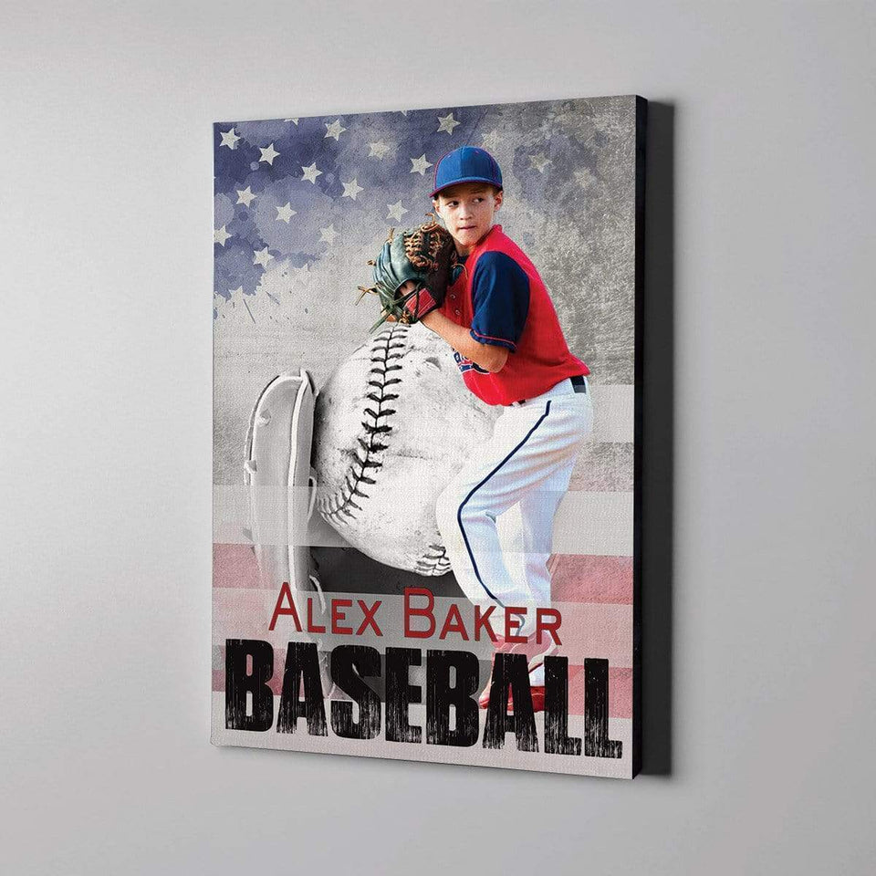 Baseball Player with flag custom canvas prints with photo