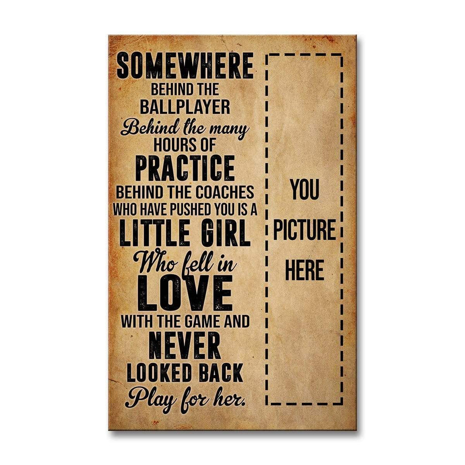 Play for her - Softball Custom Canvas Prints With Photo