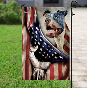 Pitbull Dog Celebrate Fourth Of July Independent Day Garden Flag, House Flag