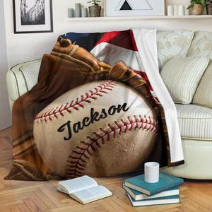 Custom Blanket Baseball Ball & Flag