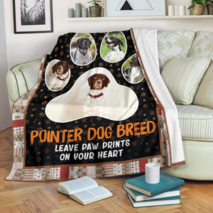 Pointer Dog Leave Paw Prints On Your Heart Fleece Blanket Gift