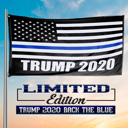 Thin Blue Line Trump 2020 American Flag