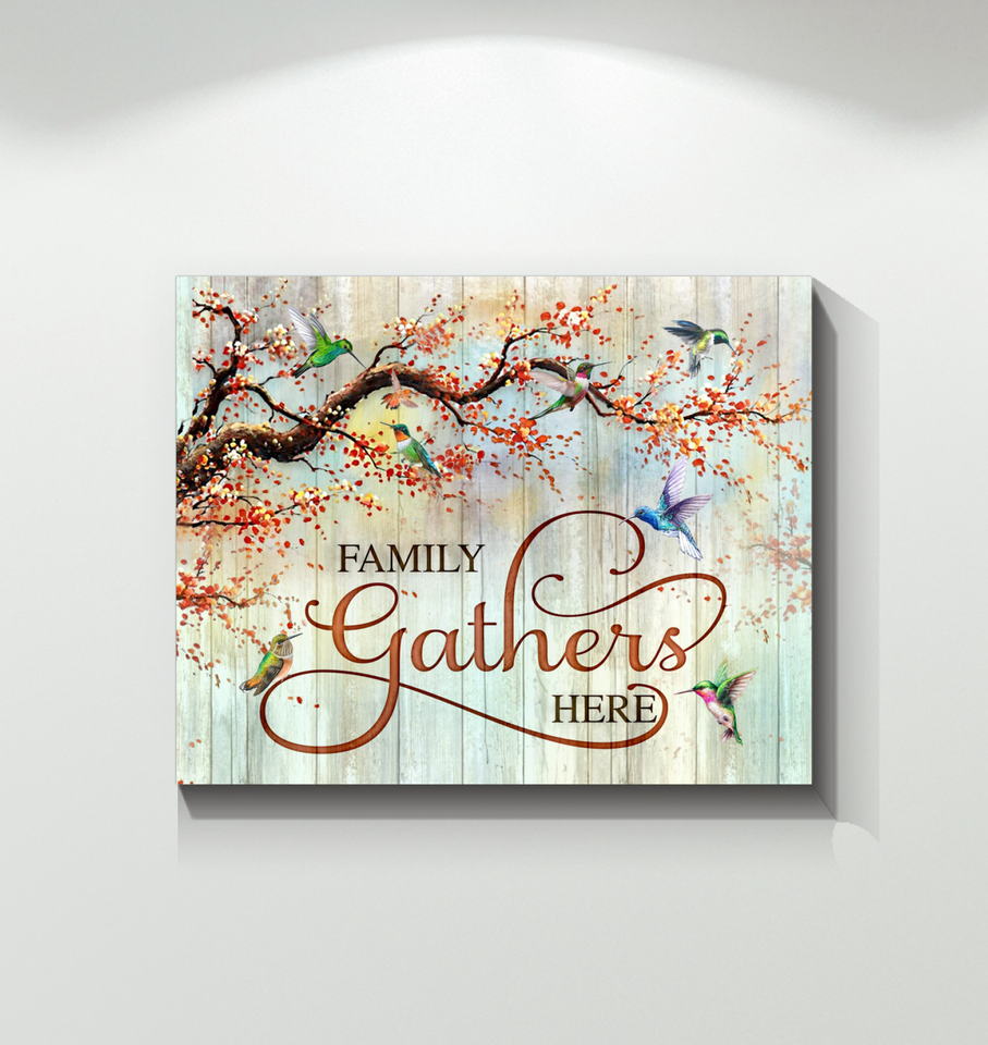 Canvas - Hummingbird - Family Gathers Here