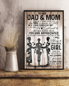 Dad Mom Canvas - To My Dad & Mom I Know It's Not Easy For You To Raise A Child Canvas - Family Presents