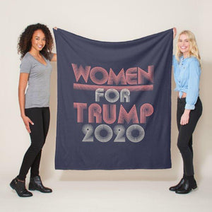 Retro Vintage Pink Women For Trump 2020 Fleece Blanket
