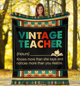 Book Lovers Blanket - Vintage Teacher Knows More Than She Says Fleece Blanket - Family Presents
