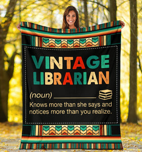 Book Lovers Blanket - Vintage Librarian Knows More Than She Says Fleece Blanket - Family Presents