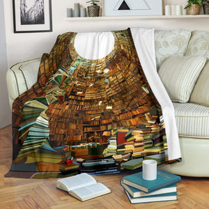 Book Lovers Blanket - Book Shelf Painting Fleece Blanket - Family Presents