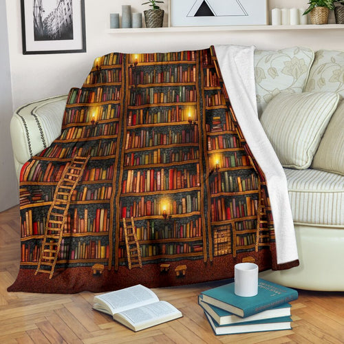 Book Lovers Blanket - Book Shelf With Candle Lights Fleece Blanket - Family Presents