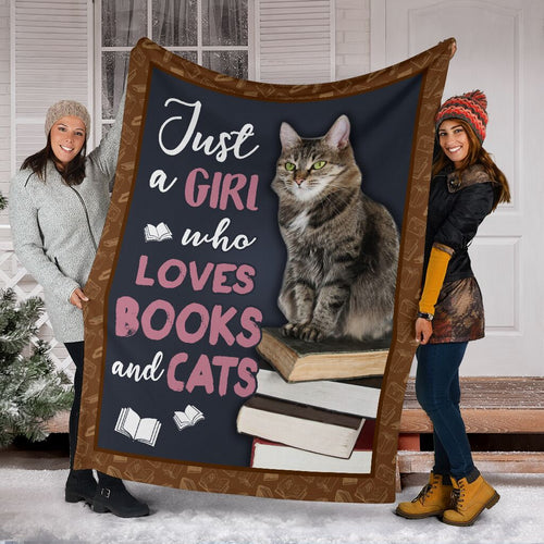 Book Lovers Blanket - Just A Girl Who Loves Cats & Books Fleece Blanket - Family Presents