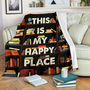 Book Lovers Blanket - This Is My Happy Place Book Shelf Fleece Blanket - Family Presents