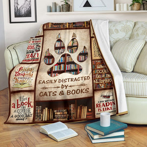 Book Lovers Blanket - Easily Distracted By Cats & Books Fleece Blanket - Family Presents