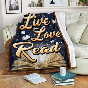 Book Lovers Blanket - Live Love Read Fleece Blanket - Family Presents