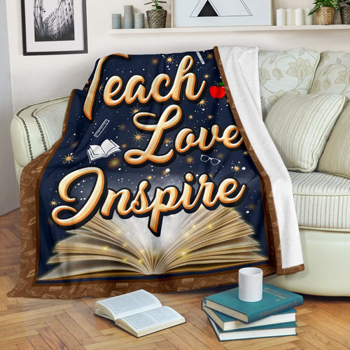 Book Lovers Blanket - Teach Love Inspire Fleece Blanket - Family Presents