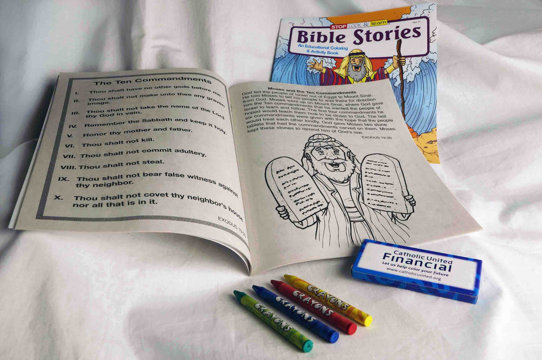 Bible Stories Coloring Book and Crayons