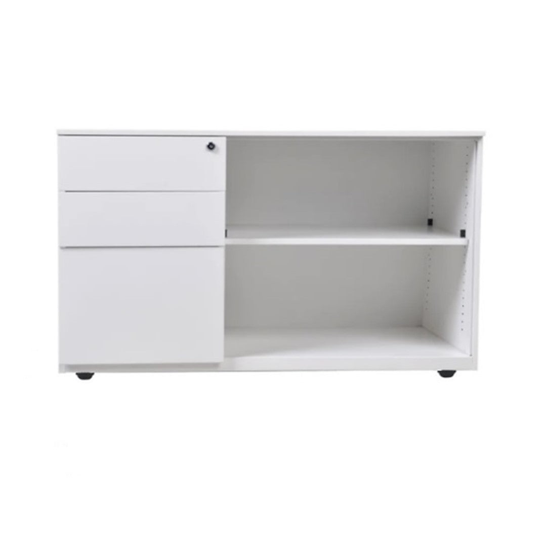Wooden Storage Cabinet – 2D1F with Open Shelf