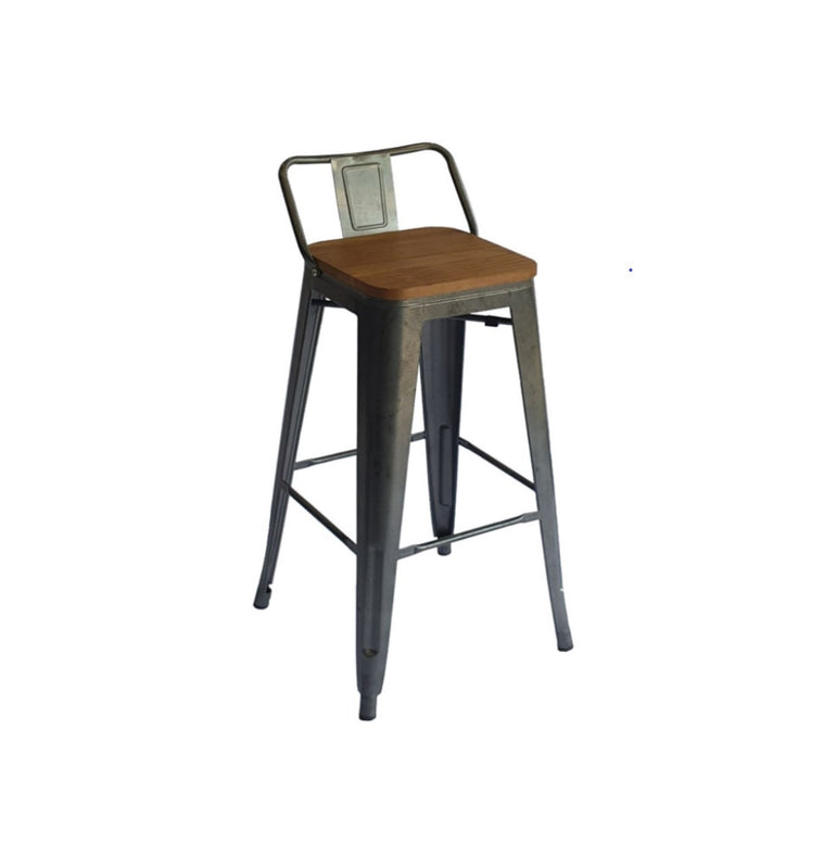 High Bar Chair with Wooden Seat