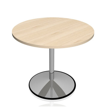 Round Discussion Table With Chrome Trumpet Base
