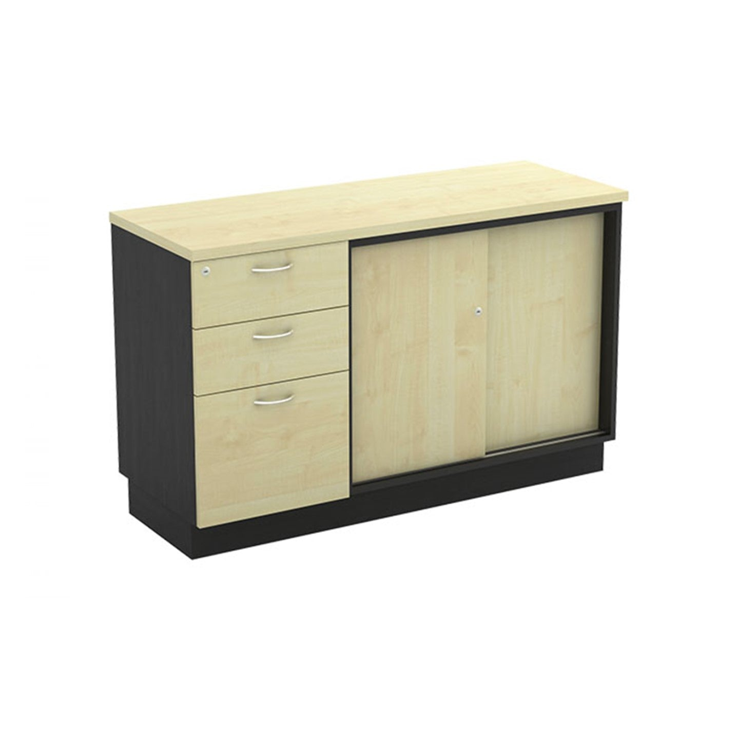 Wooden Cabinet – 2D/1F with Sliding Door Cabinet