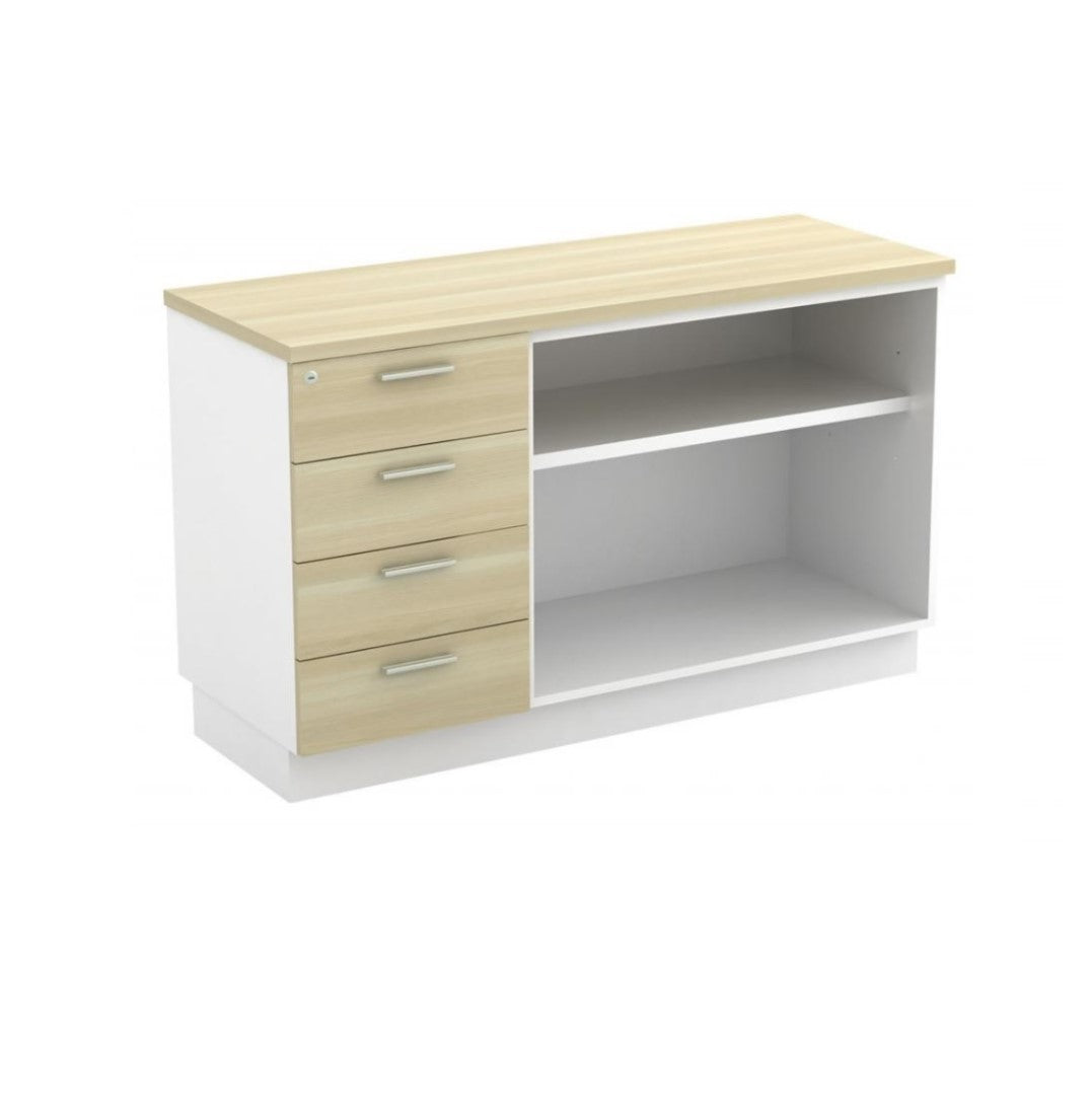 Wooden Cabinet – 4 Drawers with Open Shelf