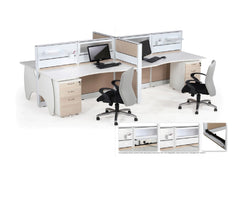Office System Furniture – Cluster of 4 Workstations