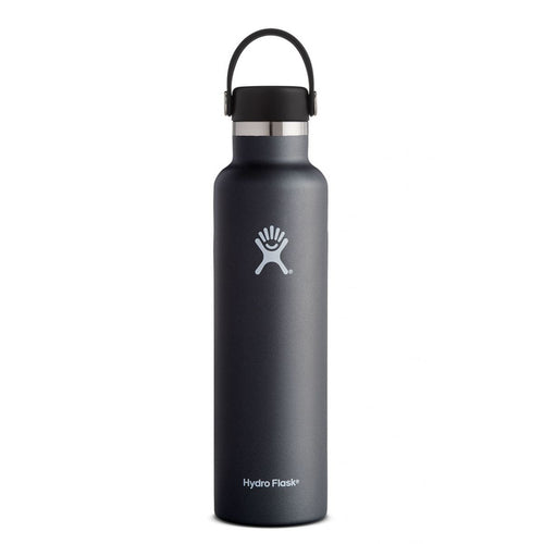 HYDRO FLASK Standard Mouth Bottle - Flex Cap  Double Insulated - Black 709ml - My Perfect Box