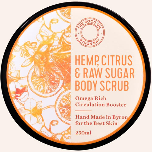 Hemp, Citrus & Raw Sugar Body Scrub - The Good Oil Byron bay - My Perfect Box