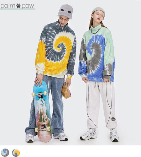 High-Neck Printed Tye-Dye Matching Couple Sweatshirts - Palm Paw