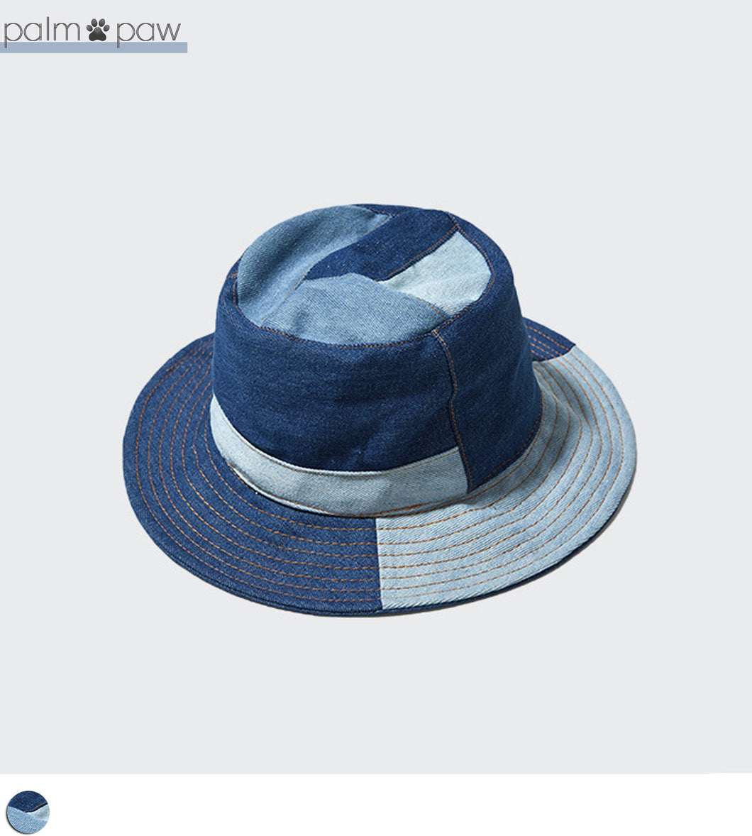 Patchwork Denim Bucket Hat - Palm Paw