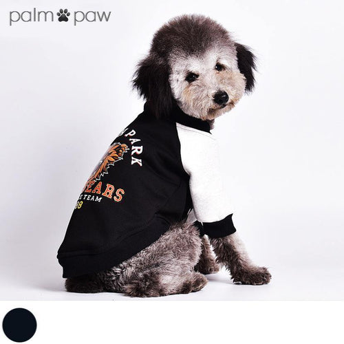 Black Vintage Dog Varsity Jacket - Palm Paw