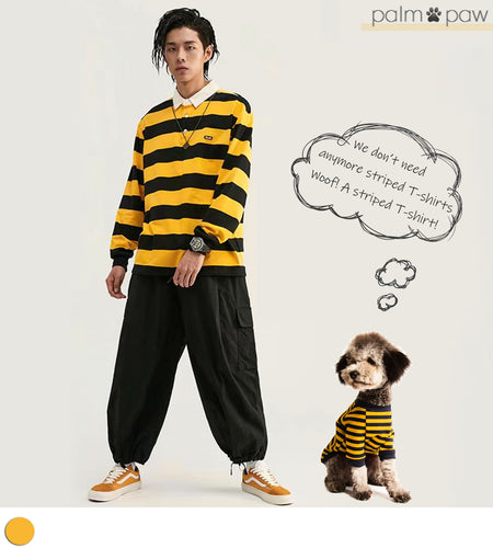 Matching Dog and Human Black and Yellow Striped T-shirt - Palm Paw