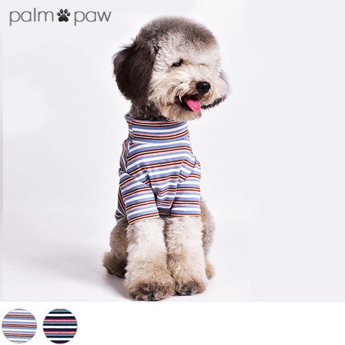 Stand Collar Striped Dog T-shirt - Palm Paw