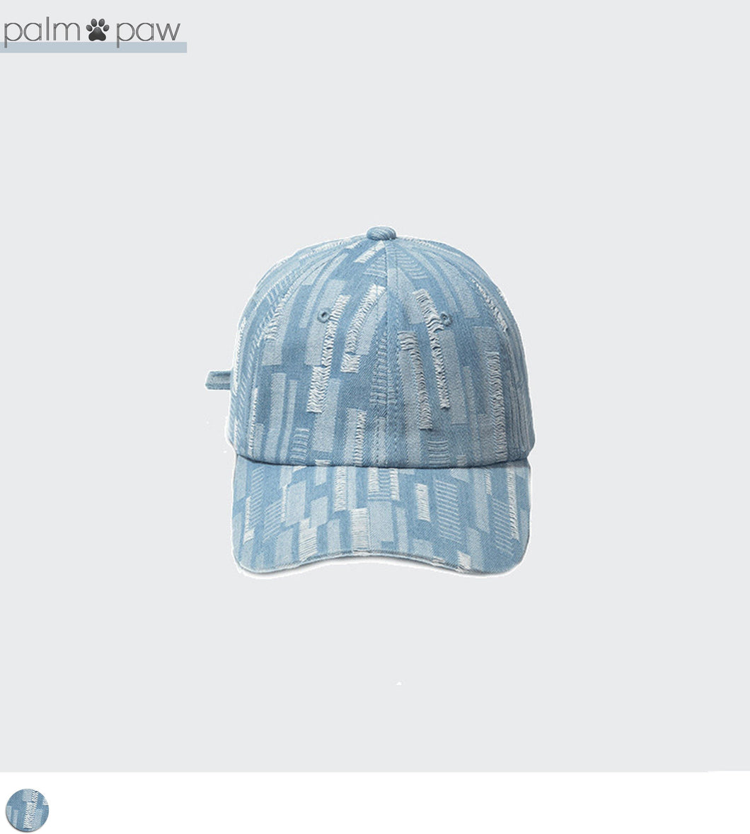 Light Wash Denim Strapback Hat Adjustable - Palm Paw