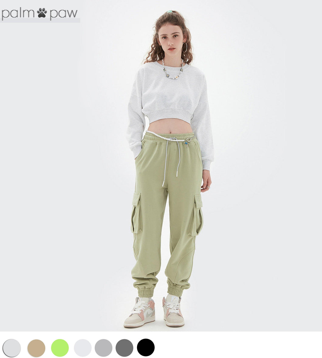 Women's Active Cropped Crew Neck Sweatshirt - Palm Paw