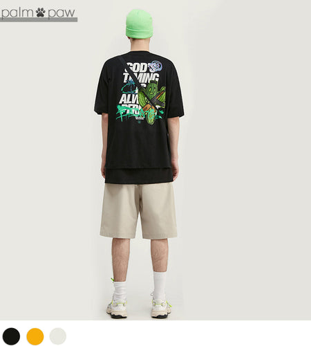 Cactus Graphic Oversized Short Sleeve T-shirt - Palm Paw