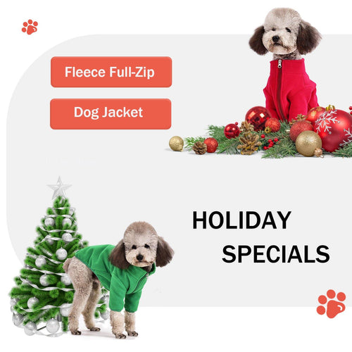 Fleece Full-Zip Dog Jacket - Palm Paw
