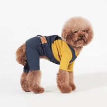 Load image into Gallery viewer, 90's Denim Dog Overalls & Waffle-Knit Henley - Classic Chic Style Set - Palm Paw