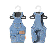 Load image into Gallery viewer, Denim Dog Overall Dress - Palm Paw