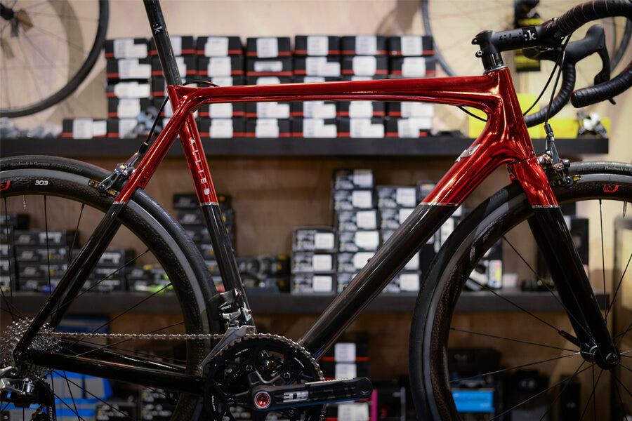 Allied Alfa Candy Red Fade to Carbon NAHBS SRAM show