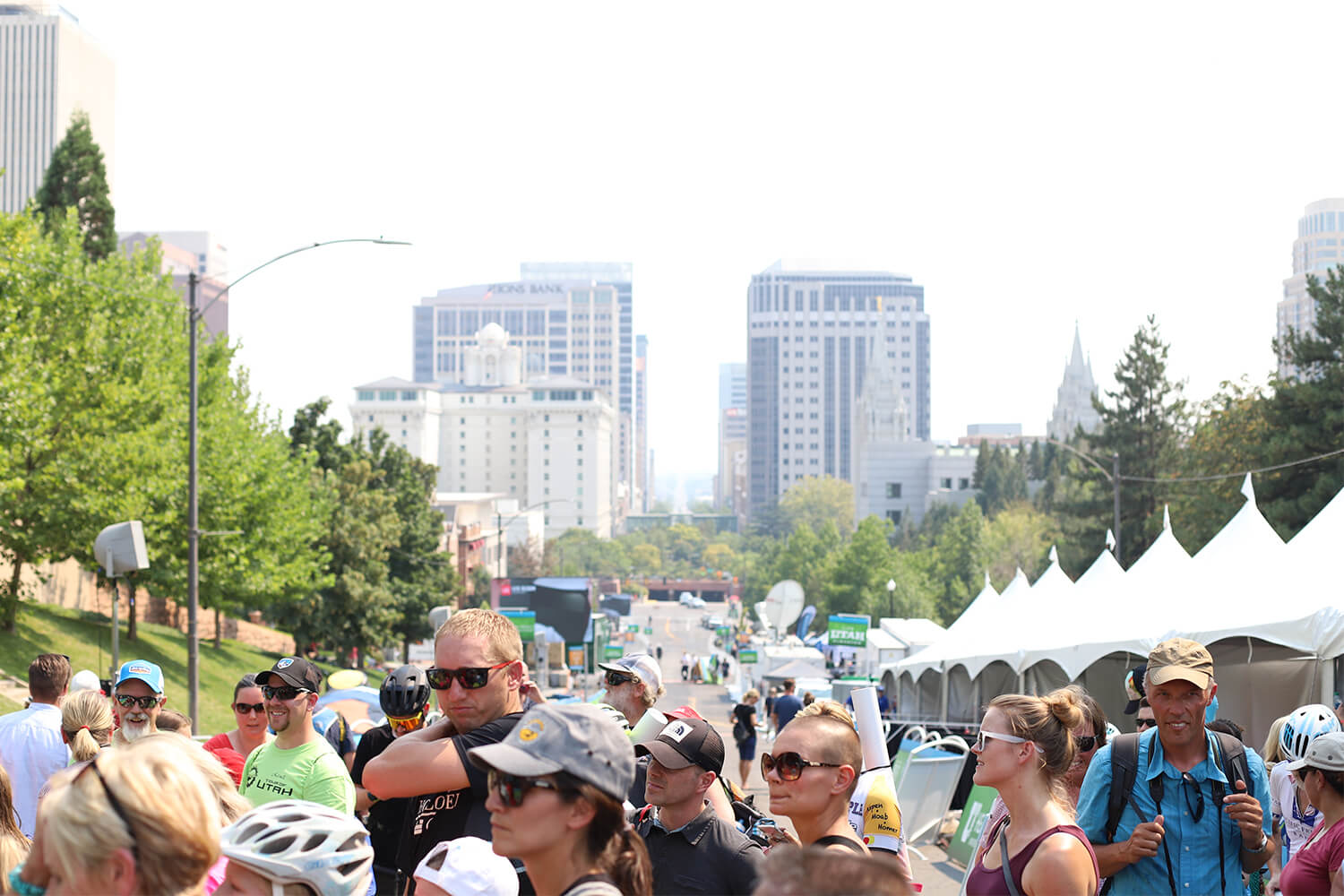 Contender Salt Lake City Stage Tour of Utah 2018 post-race crowd gathered
