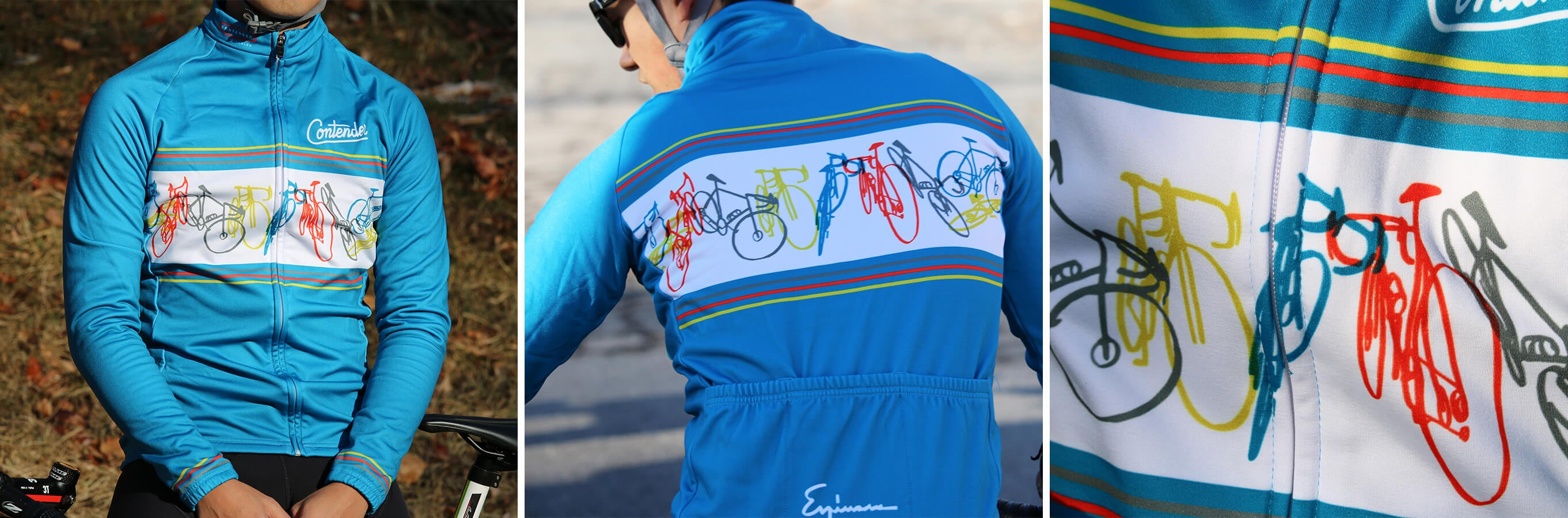 Contender x Espinosa Jersey Blue - Contender Bicycles