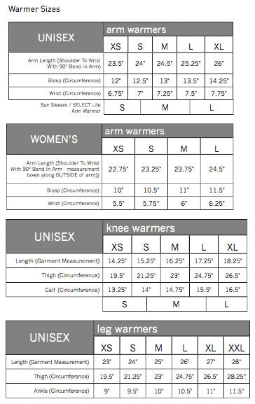 Pearl Izumi Warmers Sizing Guide