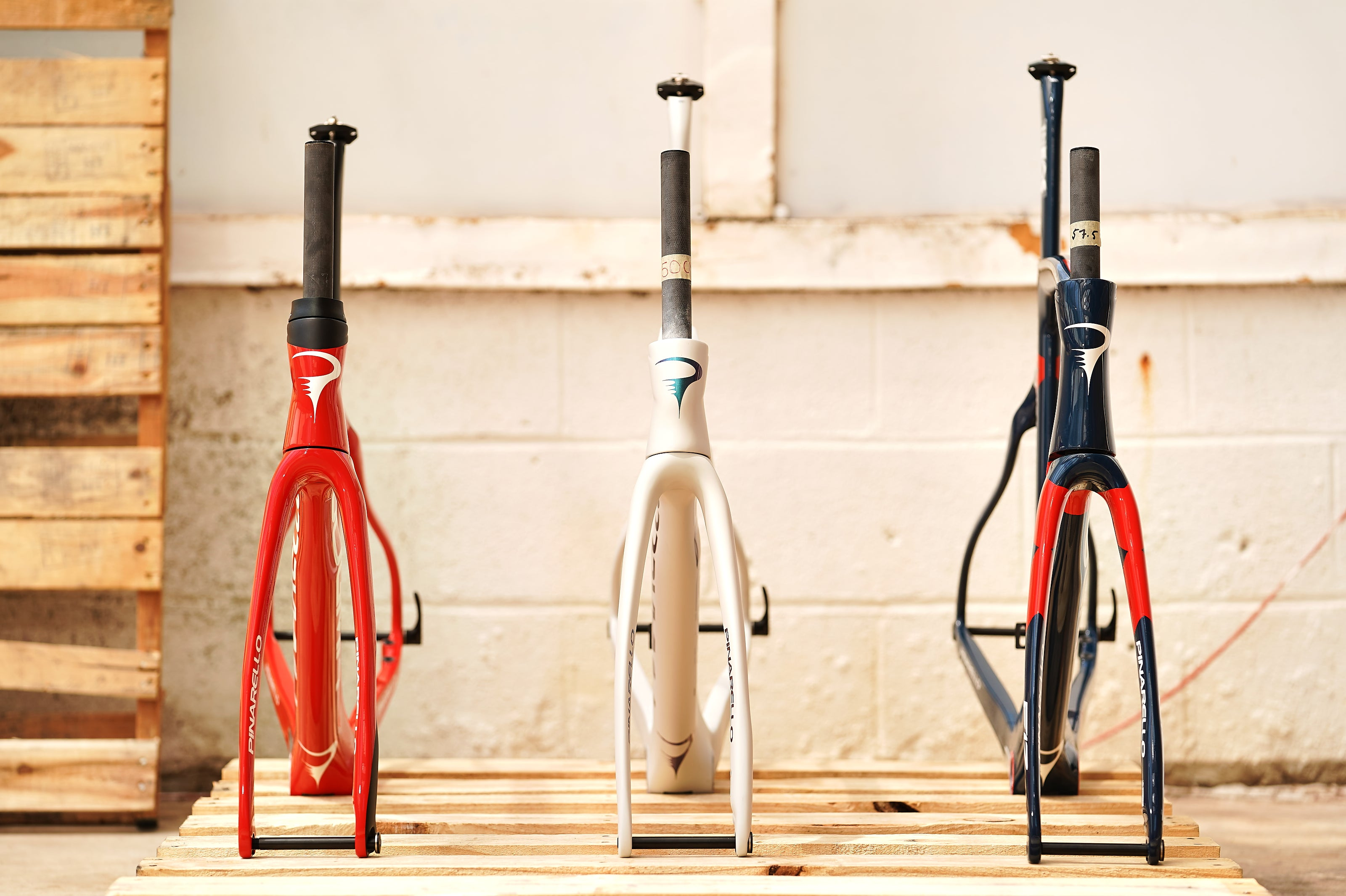 Pinarello Dogma F12 frames lined up Fourth of July