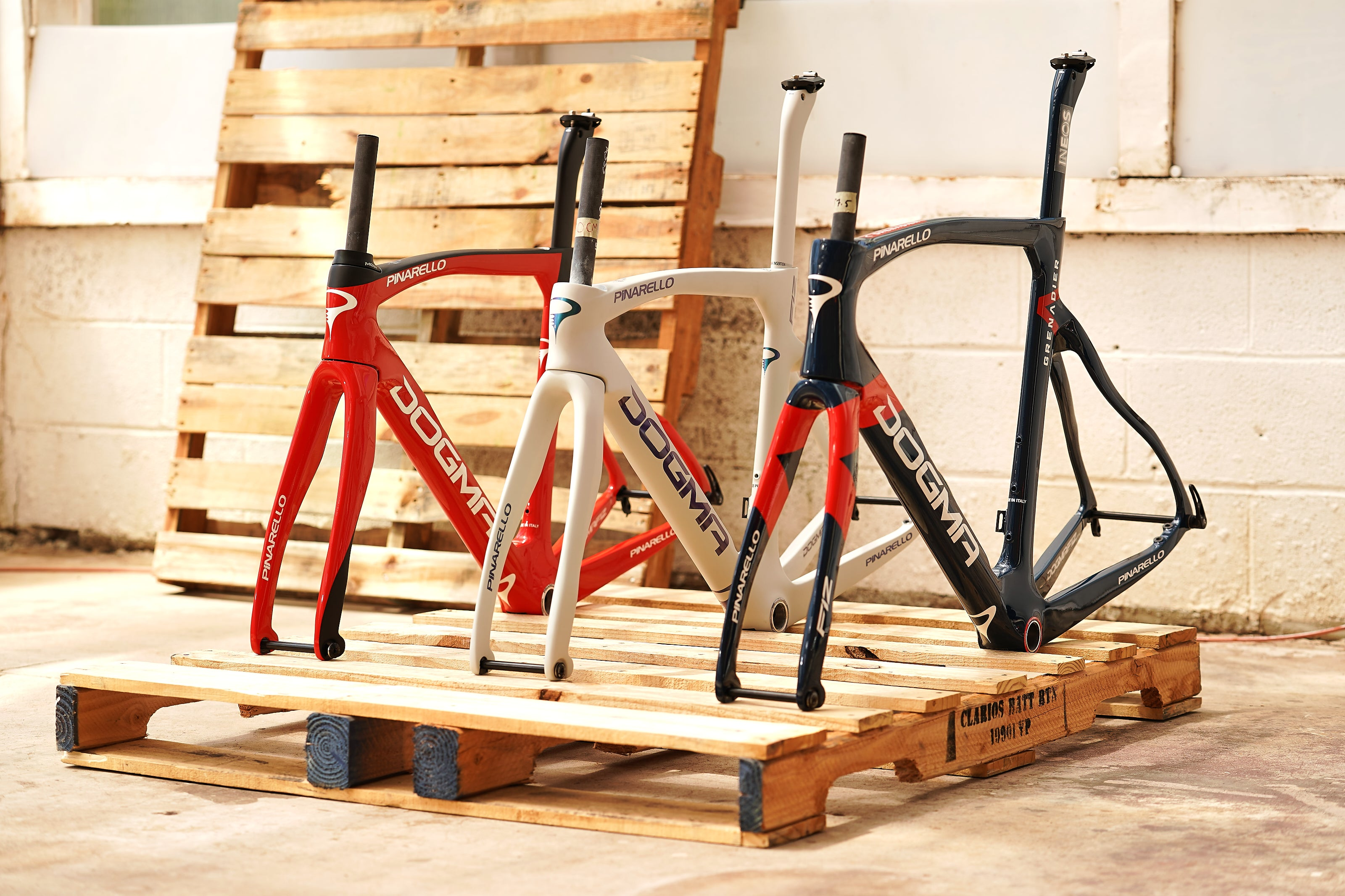 Pinarello Dogma F12 frames red white and blue fourth of july